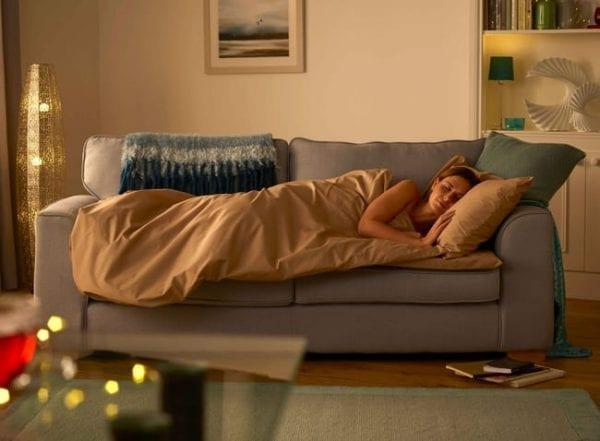 women sleep duvalay sofa